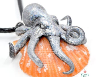 Dark Holographic Octopus on Orange Seashell Pendant Necklace, Polymer Clay Octopus Jewelry, Seashell Pendant