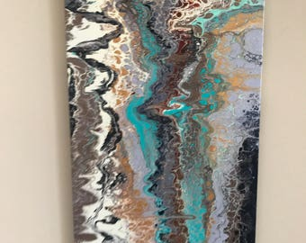 "Acrylic Pour Painting - 15"" x 30"""