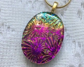 Dichroic Glass Pendant, Fused Glass Jewelry, Purple Magenta Turquoise Starburst Dichroic Necklace