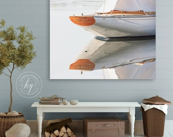 Large Sailboat Canvas Wall Art, Nautical Photography, Luxury Yacht Photograph, Cape Ann, Gloucester MA Photo, Boat Print, White Grey Beige