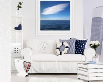 Framed Wall Art, Abstract Art, Beach Decor Ocean Photography Seascape Photo Navy Blue White Nautical Decor Coastal Artwork Oversized Print