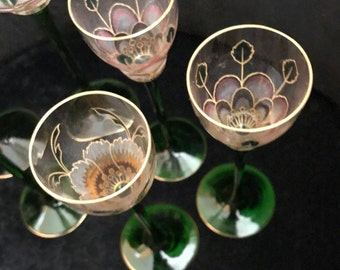 ANTIQUE EUROPEAN GLASS Handmade Crystal Deco-Nouveau Style Etched, Stunning Floral and Leaf Bohemian Etched Painted Glasses