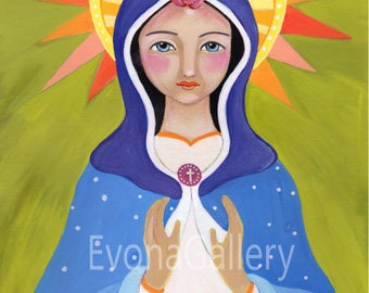 Our Lady of Knock, Virgin Mary, Queen of Ireland, Christian art, art print, wall decor, patron, saint, Baptist gift, confirmation gift,