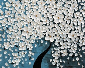 Original  Modern  White  Blossom  Heavy Texture  Impasto Palette Knife Lanscape  White Blue Flowers   Painting.  ..