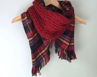 Blanket Scarf / Flannel Scarf / Crochet Scarf / Infinity Scarf / Red Scarf / Plaid Scarf