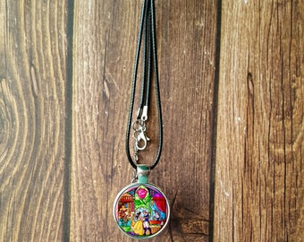 Beauty and the Beast Stained Glass Necklace