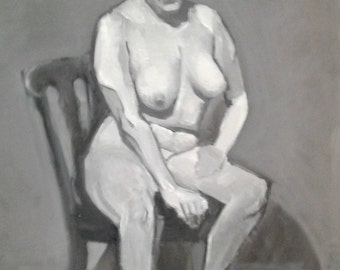 "Study, Leslie On Chair, Original Oil Painting, 24"" x 36"""