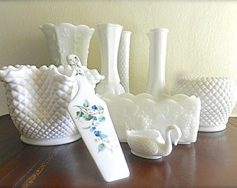Vintage Hobnail Milkglass Collection.Wedding Flowers. Shabby Chic Cottage Home Decor