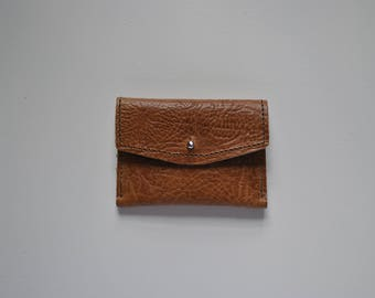 Small leather purse 'Tumbled Tan' textured sturdy perfect size coins / cards dk brown stitching brass sam brown stud fastening handmade