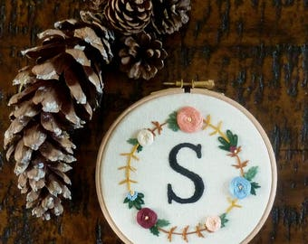 Personalised monogram embroidery with floral detail Modern custom initial hand embroidered letter 5 inch hoop birthday wedding gift for her
