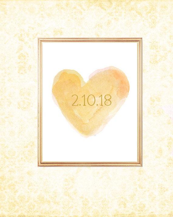 Gold Wedding Gift, 8x10 Print with Custom Date