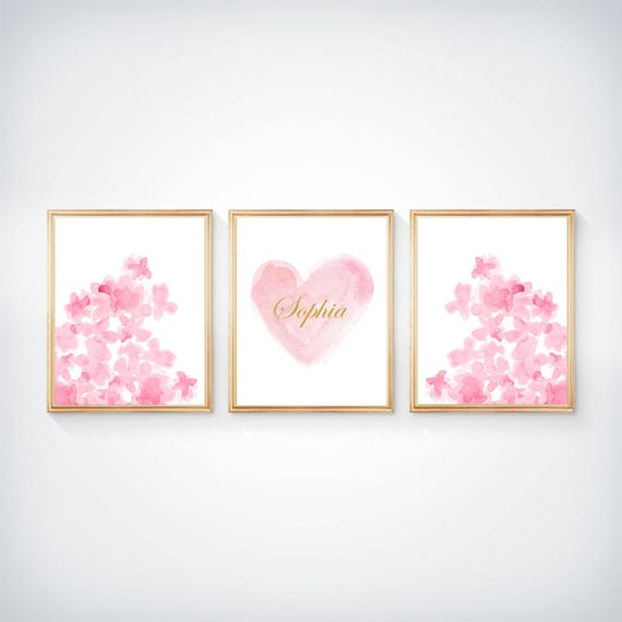 Prints for Girls Room, 8 x 10 Set of 3, Personalized Pink Flowers and Heart
