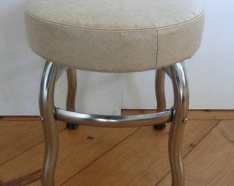 Vintage Mid Century Modern Chrome and Tan / Beige  Vinyl  Stool / Seat