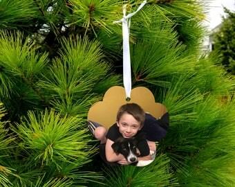 Paw Print Shape/Christmas Ornament/Aluminum/Double Sided/Custom Printed/Photo/free shipping