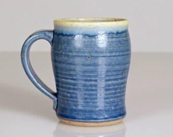 Extra-Large Handmade Ceramic Mug in Rustic Cobalt Blue, Celadon Green, & Cream with Tiny White Crystals. Unique Pottery Coffee Mug, Tea Mug