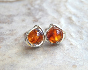 Amber Stud Earrings Genuine Amber Earrings in Sterling Silver/ 14k Gold Filled, Amber Jewelry, Gifts for Her, Wife Gift, Gifts For Women,
