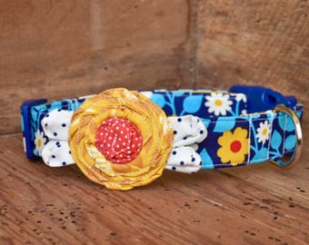 Flower Dog Collar - Navy/Mustard Floral with Mustard Flower, Red Center and Navy/Cream Tiny Dot Leaves