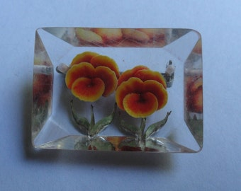 Vintage Transparent Plastic Brooch Pin Yellow Orange Flower Designs