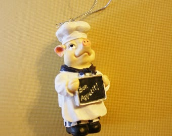 Vintage Chef Pig Christmas Ornament, Bon Appetit
