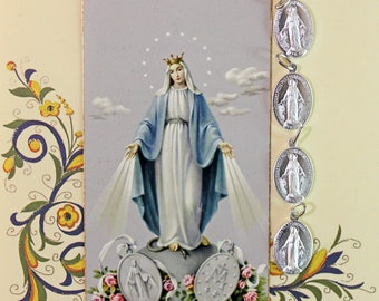 4 Vintage Religious Charms*Religious Medals* Mary Medals* Prayer Card
