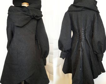 Andrew Black Brocade embroidered large hooded coat