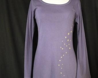 Purple/cornflower Fairy tunic gold stars