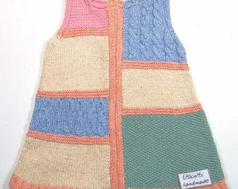Knit baby girl dress - spring baby dress -girl sundress - toddler dress - baby outfit - jumper dress - baby gift - baby girl clothing
