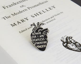 Frankenstein Enamel Pin - Anatomical Heart Enamel Pin Badge  - Gothic Literature Collection - Book Lover - Halloween - Black and Silver Pin