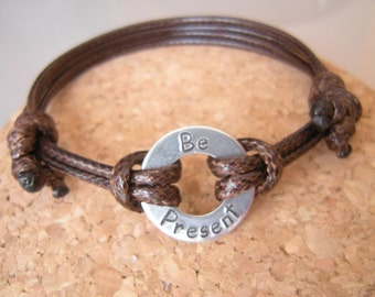 Mindfulness bracelet, Be Present, Washer bracelet, custom washer bracelet, Infinity Ring, Gift for Him, Stamped Washer, Gift for friend