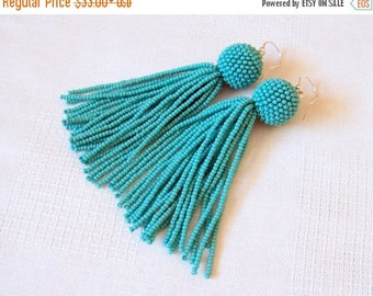15% SALE Turquoise beaded tassel earrings - Dangle earrings - Statement Earrings - Long tassel earrings - Fringe earrings - beadwork earring