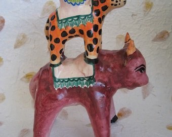 Mexican Ceramic Candleholder with Bull and Leopard, Vintage