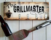 The Grillmaster Wood Sign || Gift for Men, Christmas Grilling Gift, Beer Bottle Opener, BBQ Utensil Holder, BBQ Sign, Gift for Dad