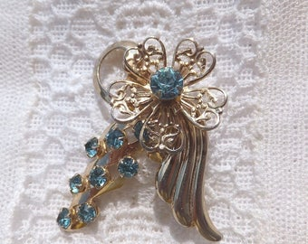 Vintage Turquoise Rhinestones In Gold Tone Combination Brooch AND/OR Pendant, Stunning Sparkle, Mother's Day, Birthday, With Gift Box, VP103