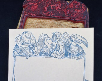 Antique Rubber Stamps Anthropomorphic Animals Elephant Ostrich Pelican French