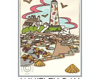 Whitley Bay Travel Poster St Mary's Lighthouse Limpets Beach Seaside