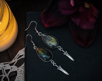 Athena • Teardrop labradorite in sterling silver earrings with athame charms