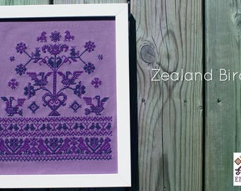 Zealand Birds - Traditional folk embroidery sampler in crosstitch