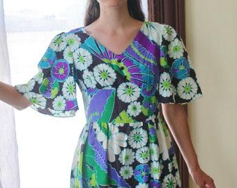 Vintage 60s Hawaiian Psychedelic Mini Dress