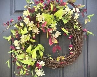 Spring Door Wreath Spring Door Decor Spring Wreaths Purple Green Gifts for Her Mothers Day Housewarming Spring Decorating Door Wreaths