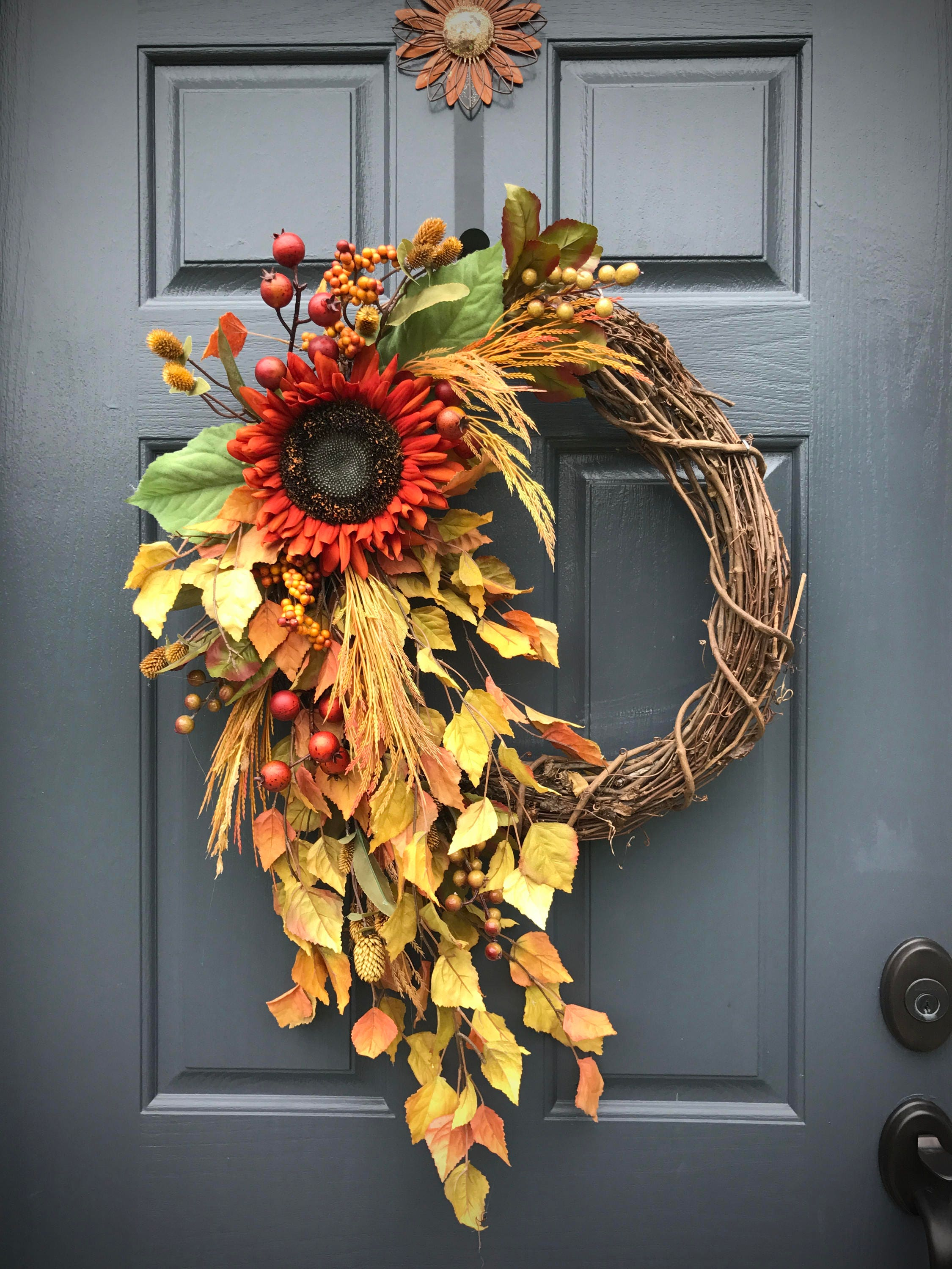 Fall Wreaths Sunflower Wreaths Fall Door Wreath Wreaths For