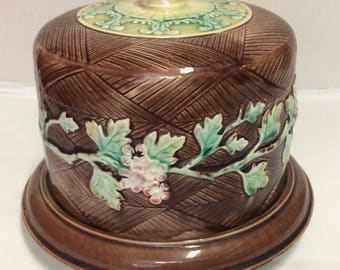 Antique Majolica Cheese Keep