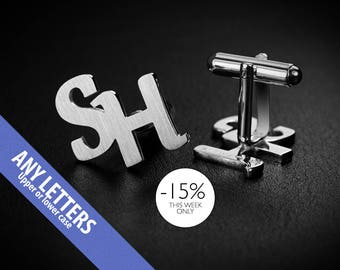 Wedding Cufflinks – Initials Cufflinks –  Monogram Cufflinks –  Groom Cufflinks sterling silver