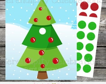 Instant Download Pin the Ornament On the Christmas Tree Game, Kids Christmas Game, Christmas party game, Printable Game, Holiday Game