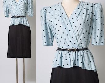 80s Dress, Vintage Polka Dot Dress, Blue Polka Dot Dress,Vintage peplum dress, Blue black Dress,Vintage secretary dress, 80s secretary - M/L