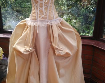Ready to send regency gown boned corset top two separate skirts hoop wedding princess stage party gown medieval queen christmas historical