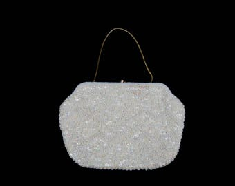 White Beaded Evening Bag, Purse