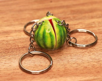 Watermelon Friendship Necklaces Or Keychains - Fruit Jewelry, Watermelon, Fruit Necklace, Bff jewelry, Friendship Jewelry, Friends