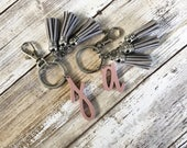 Individual Letter Keychain with 3 Mini Tassels   Gold or Silver Accent   Multiple Color Options   Bridesmaid Gift   Girly Gift   Leather