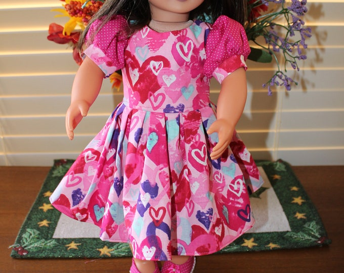 Valentines Day, Bright ,Pink,Hearts Print ,Dress , Matching Shoes made for the AG and other 18 inch dolls FREE SHIPPING