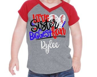 little sister baseball shirt, sister baseball, baseball outfit, im his biggest fan, baseball sister, little sis baseball, baby girl baseball